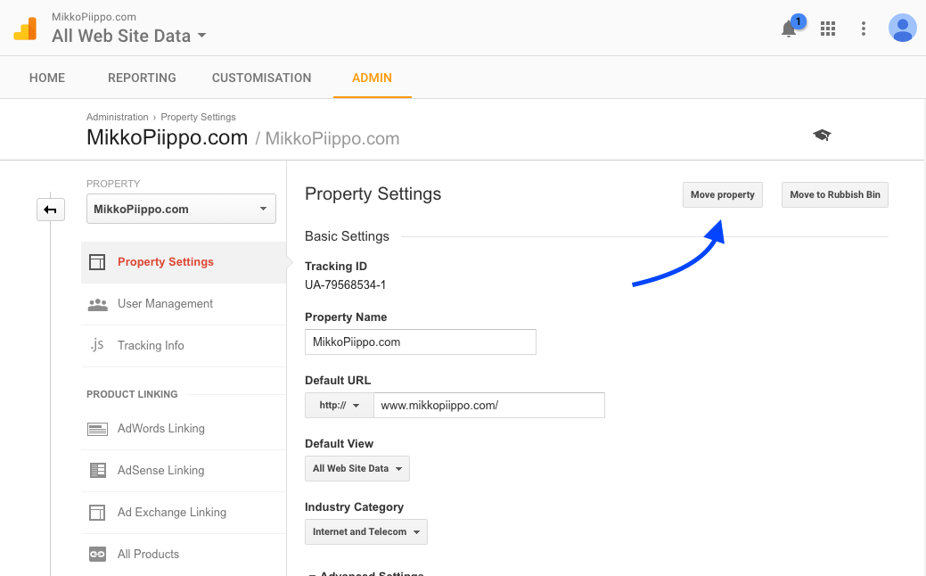 Screenshot: how to move property from one GA account to another