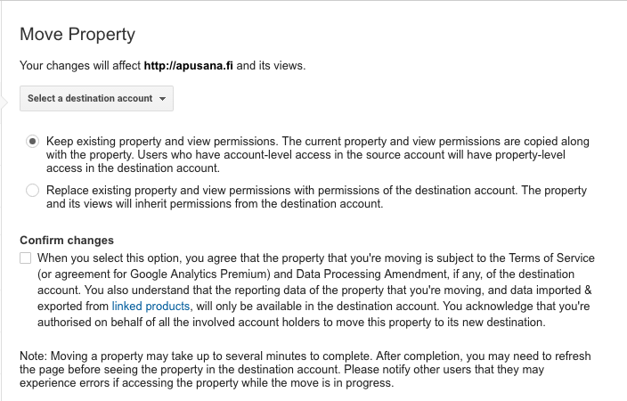 Moving Google Analytics property to another account